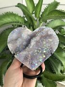 Angel Aura Amethyst Heart With Stand Crystals Rocks Fossils Minerals