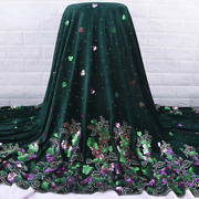 5yd Sequin Velvet Fabric Embroidery African Nigerian Retro Lace Cloth For Dress