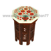 Carnelian Inlay Side Table White Marble Small Coffee Table Tree Of Life Design