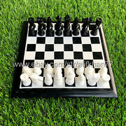 Black Chess Board With Marble Pieces For Tournament Vintage Style Adult Game