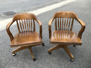 Antique Oak Wood Bankers Chair Desk Chair Swivel Chair Rolling Chair Lot Of 2