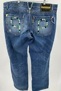 Parish Menand039s Jeans Size 40x32 Blue Denim Distressed Button Fly Embroidered Used