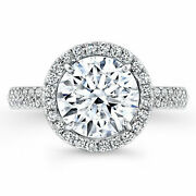 Solid 14k White Gold 1.07 Ct Round Moissanite Diamond Engagement Rings Size 8