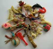 Vtg 30's 40's Celluloid Asian And Rare Japanese Cracker Jack Type Charms On Ring
