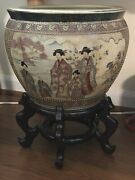 Vintage Large Asian Chinese Fish Bowl Planter W/wood Stand Beautiful