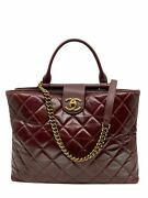 Quilted Large Gold Bar Top Handle Tote