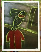 New York City Subway Art Outsider Painting On Loose Canvas..12 X 16 By Jordok