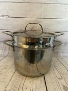 Lagostina Pastaiola Stainless Steel 6-qt. Pasta Pot With Insert Hammered Lid