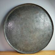 Antique Persian Middle Eastern Tinned Copper Tray 21 Diameter Wall Decor