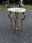 Art Deco Iron Bronze And Onyx Lamp Stand Table Antique