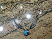 Navajo Sterling Silver Turquoise Feather Native American Jamison Lee On Choker