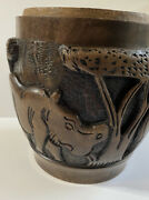 Vintage Large Hand Carved Solid Wood African Vase Bowl Planter Animals And Trees