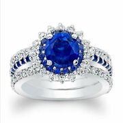 Natural 2.49 Ct Diamond Blue Sapphire Gemstone Rings Solid 14k White Gold Size 8