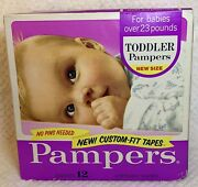 Pampers Diapers Toddler Custom Fit Tapes 12ct Box Vintage 1970's Rare Prop 23lbs