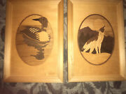 Hudson River Inlay By Nelson, Loon And Howling Wolf Marquetry Framed