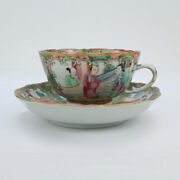 Antique Rose Medallion Chinese Porcelain Tea Cup And Saucer - Export Pc