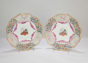 Two Antique Dresden Hand-painted Reticulated Cabinet Plates - Pc