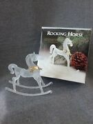 Silvestri 6 1/4t Crystal Rocking Horse Frosted Glass With Brass Wreath W/box