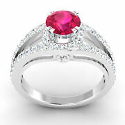 1.34 Ct Diamond Ruby Women Wedding Rings Solid 14k White Rings Sale Gold Size 7
