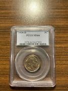 1936-d Buffalo Nickel 5c Pcgs Ms 66 Type 2, Five Cents In Recess