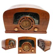 For Repair Vintage 1942 Zenith Tube Radio 6d2620 Broadcast Shortwave Curved Wood