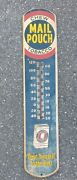 """Vtg Chew Mail Pouch Tobaccothermometer Advertising Sign 39""""x8"""" Wow Original"""