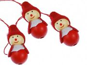 3 Piece Christmas Tree Pendant Ornament Decoration Gnome Wood Red