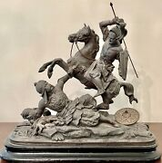 Monumental 19th C French Spelter Sculpture Crusader Defeating Saracen