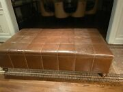 Oversized Custom Brown Leather Coffee Table/ottoman With Nail Heads By Decorator