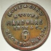 Rockford Illinois Hope And Clow Civil War Store Card Token Il 755g-2a Lock