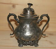 Antique Hand Made Silver Plated Pewter Floral Engraved Footed Sugar Bowl