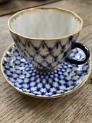 Russian Imperial Lomonosov Porcelain Tea Cup And Saucer Blue And White
