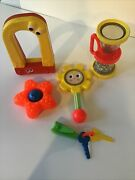 5 Vintage Fisher Price Baby Rattles,toys,hourglass,flower,starfish,magnet,keycha