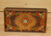 Vintage Hand Made Floral Pyrography Wood Cigarette Case Box