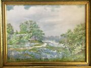 Bluebonnets - Listed Early Texas Artist - Will Kendrick