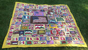 """Incredible Extra Large Early 1900s Tobacco Flag Felts Blanket Quilt 92""""x84"""""""