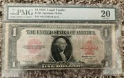 1923 1 Fr 40 Pmg 20 Fine United States Notes / Legal Tender Note / Red Seal