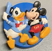"""Vintage Walt Disney Mickey Mouse And Donald Duck 3-d Embossed Rubber Magnet 2"""""""