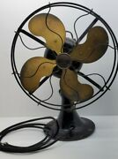 Vintage Ant. 12 Oscillating Emerson 29646 Brass 4 Blade Fan For Parts/restore
