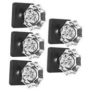 Octagon Crystal Door Knobs With Lock, Heavy Duty Clear 5 Pack Black-privacy
