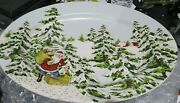 Williams Sonoma Santa Vintage Serving Platter New Christmas 17 Inches Holiday