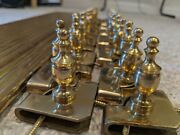 Set Of 15 Brass Stairway Rod Carpet Hold Downs With Finials- 35 Rods 39 Total