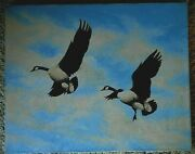 Vintage 70's Geese Painting Sd Ducks Unlimited Original Don Douthit Canvas 20x16