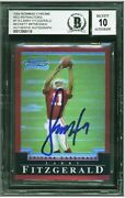 2004 Bowman Chrome Larry Fitzgerald Red Refractor Rc 166/210 Signed Bgs 10
