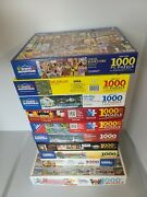 White Mountain Puzzles 1000 Piece Vermont, Michigan Readers Etc. Lot Of 10
