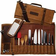 Chef Knife Bag Waxed Canvas Knife Roll Bag 22 Pockets For Knives And Kitchen Tool