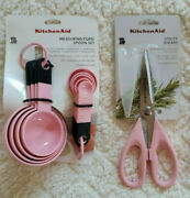 Kitchenaid Lot Of 2 Items Pink Measuring Cups And Spoons/utility Scissors New