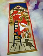Vtg Swedish Wall Hanging Linen Textile By Hill - Gnomes, Elves, Christmas