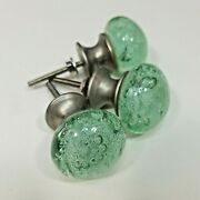 Antique Glass Clear Bubbles Drawer Pulls Handle Cabinet Knobs Lot Of 3