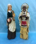 2 Vintage Faux Wood Indian And Pilgrim Havest Thanksgiving 15.5 Figurines